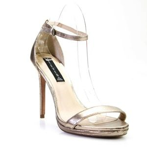 STEVE MADDEN HIGH HEEL ANKLE STRAP SANDALS GOLD 8